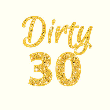 Dirty 30 glitter text. Clipart image