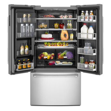 Open 3 Door Refrigerator with Food Isolated on White. Front View Black & Stainless Steel Side by Side French Door Fridge Freezer Full of Fresh Fruits & Vegetables. Kitchen & Domestic Major Appliances