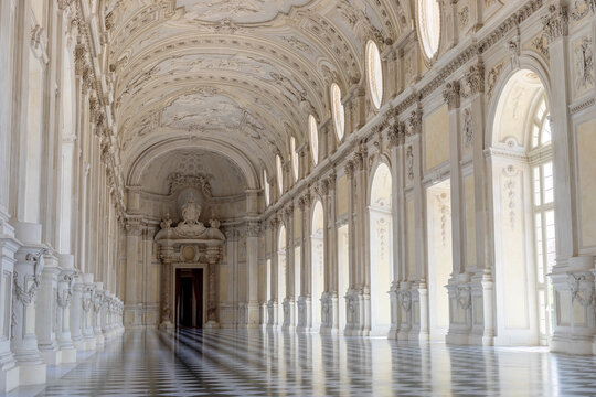 June 2020, Turin, Italy: the Venaria Reale ancient kings palace with beautiful Great Gallery from architect Filippo Juvarra