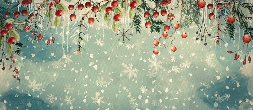 Christmas watercolor banner. Design element