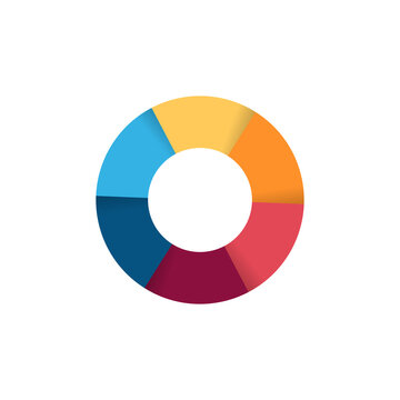 Separate doughnut graph pie charts icon with colorful parts. Morden flat design vector eps 10 circular diagram infographic for logo button banner isolated on white background Vector stock