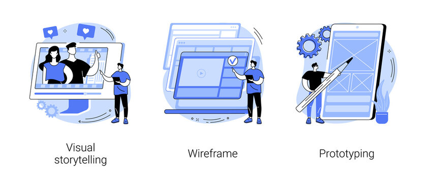 Web page layout abstract concept vector illustration set. Visual storytelling, wireframe and prototyping, user experience, design concept, landing page, digital application abstract metaphor.