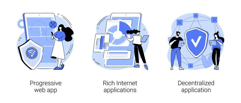 Mobile app development abstract concept vector illustration set. Progressive web app, rich Internet and decentralized applications, open source platform, user interaction design abstract metaphor.