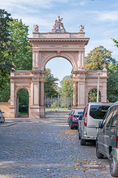 Entrance gate of the Buergerpark in Berlin Pankow, Germany