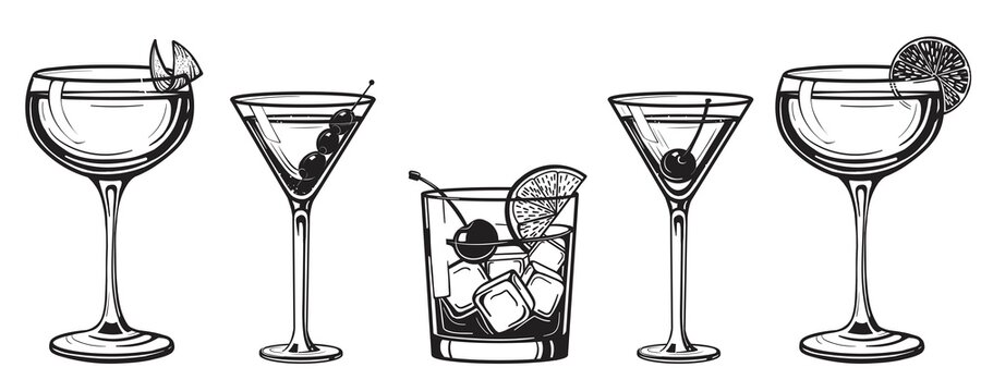 Cocktails alcoholic daiquiri, old fashioned, manhattan, martini, sidecar glass hand drawn engraving vector illustration. Isolated black and white vintage style drinks set.