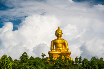 Golden Buddha and white clouds. Wall mural
