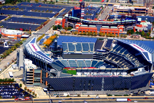 Philadelphia, Pennsylvania, U.S.A - October 23, 2019 - The aerial view of Lincoln Financial Field, the main football stadium in the city next to Interstate 95