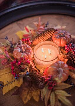 ,  - Jan 01, 1970: Autumnal Wreath on Table