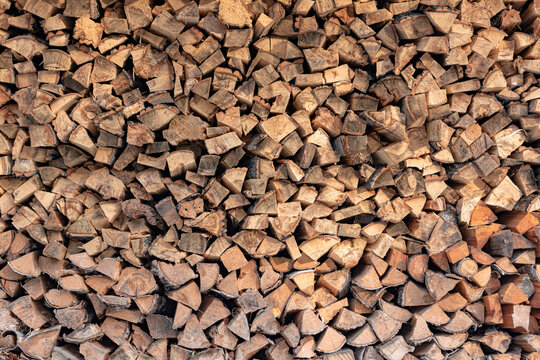 background of firewoods in a woodshed