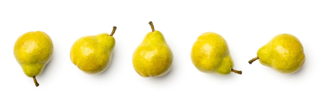 Collection of pears isolated on white background