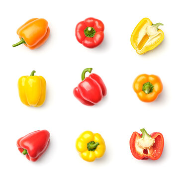 Collection of peppers isolated on white background