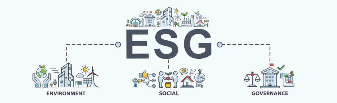 ESG banner web icon for business and organization, Environment, Social, Governance, corporate sustainability performance for investment screening.