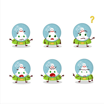 Cartoon character of snowball with snowman with what expression