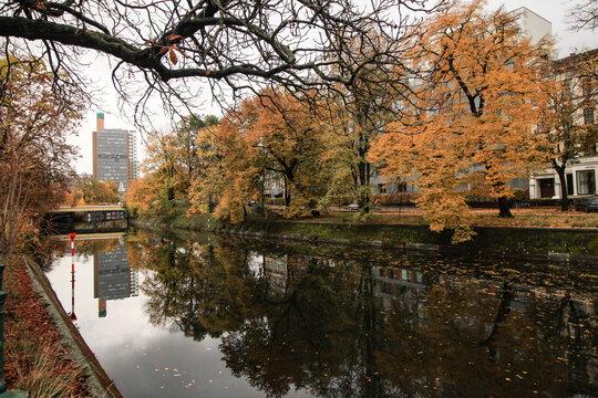 Herbst in Berlin; Landwehrkanal am Reichpietschufer (Blick zum Schöneberger Ufer)