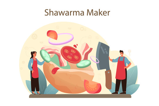 Shawarma street food concept. Chef cooking delicious roll