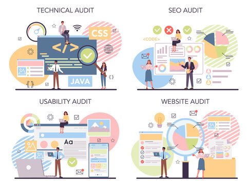 Website audit concept set. Web page analysis of website's visibility