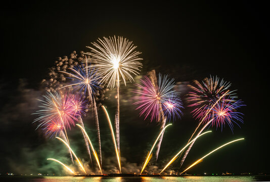 Real Fireworks display celebration, Colorful New Year Firework