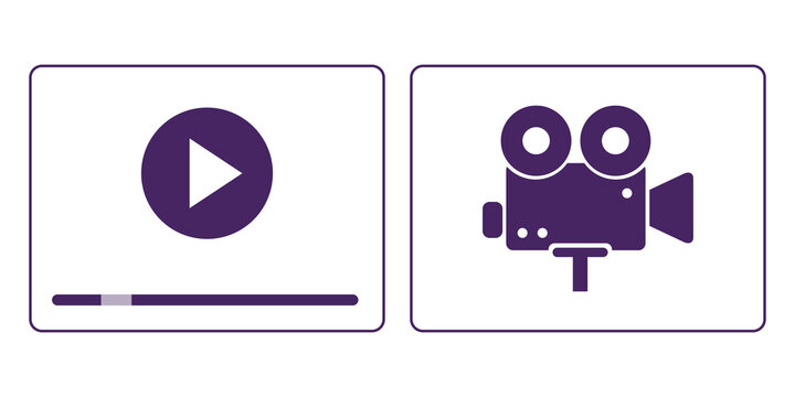 Video player play button multimedia film stream vector icons