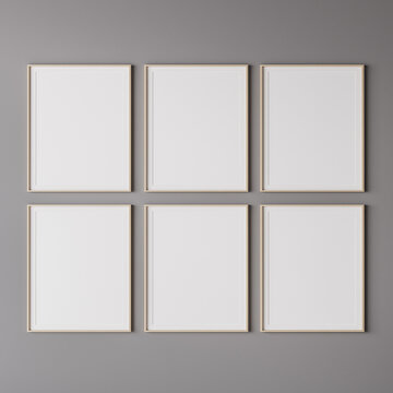 Six wooden vertical frame mockup on gray wall. 3d render.