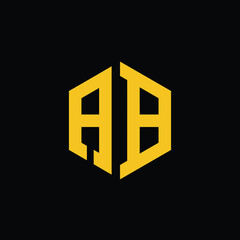 Fototapeta letter ab golden hexagon logo design vector obraz