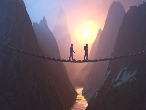 two people walking on the bridge