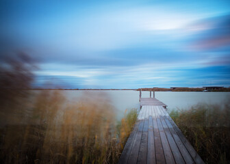 Jetty on lake neusiedlersee in Burgenland at stormy conditions