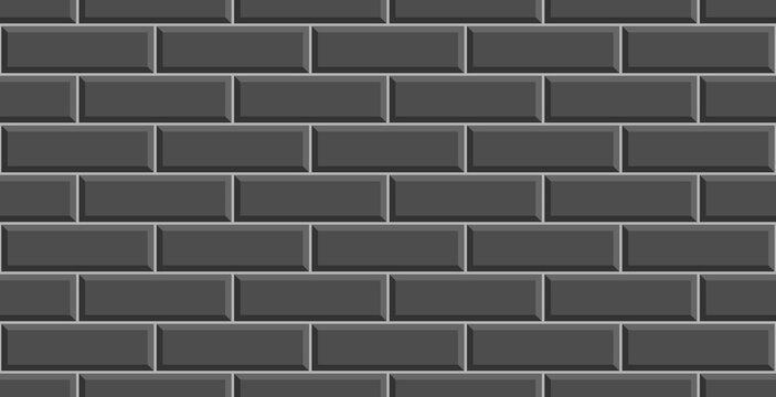 Black ceramic brick tile wall. Black tiles background. Black ceramic tile wall background