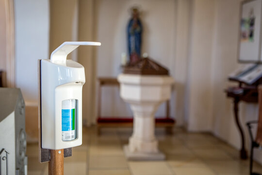 Disinfection in christian church during the coronavirus pandemic Covid-19