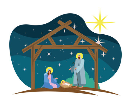 happy merry christmas card with holy family in stable scene