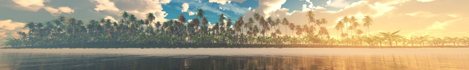 Panorama of the beach with palm trees over the water, beautiful tropical coast with palm trees, 3D rendering