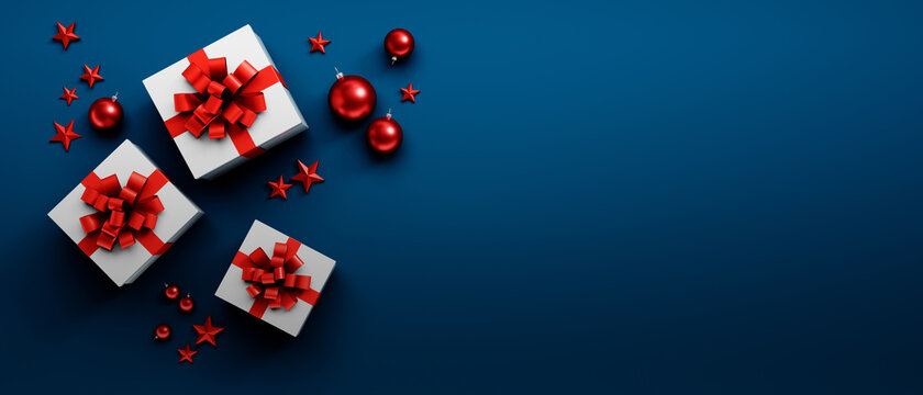 White Gift Boxes withred Bow on blue Background