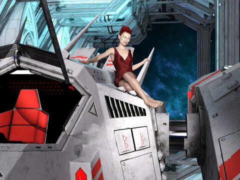 3D Photo of an Alien Woman on a Spaceship