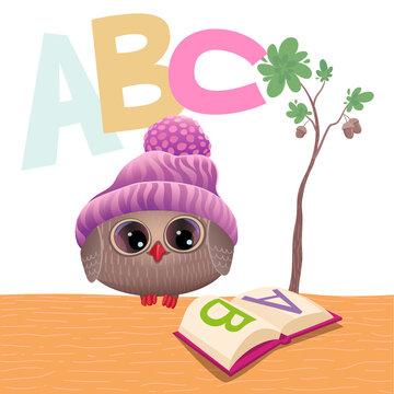 A cute owlet at school reads the alphabet. Stock vector illustration