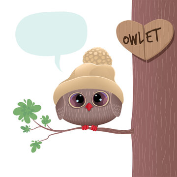 A cute owlet in a warm hat sits on a branch. Stock vector illustration