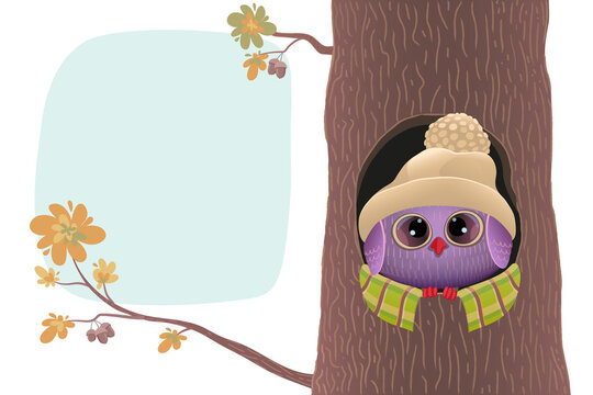 A cute owlet in a warm hat sits in the hollow of an oak tree. Stock vector illustration