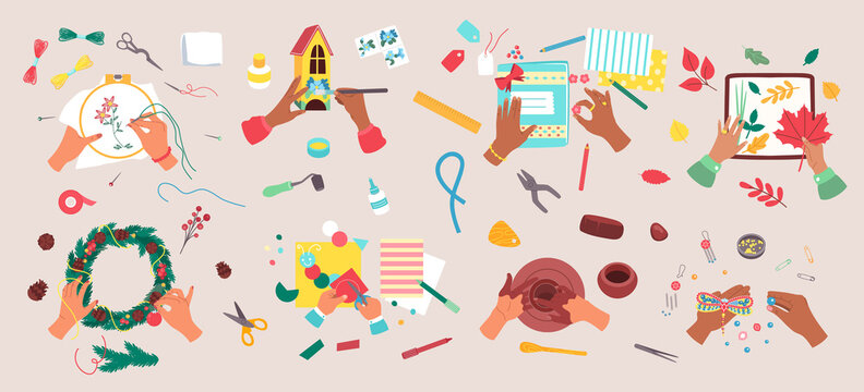 Craft hobby vector illustration set. Cartoon flat craftsman artist hands doing creative handmade decorating art work, knitting or painting, scrapbooking, sewing and creating handicraft in workshop