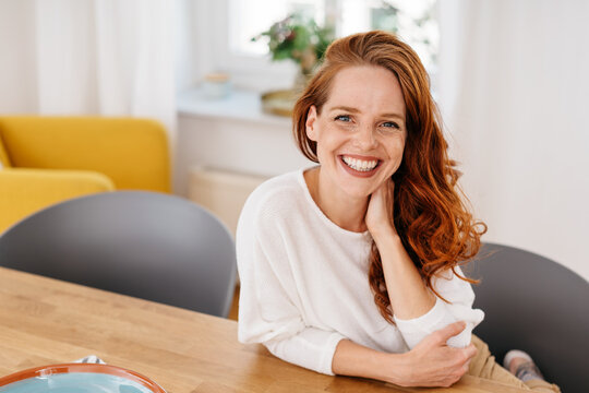 Cute happy friendly woman with lovely warm smile