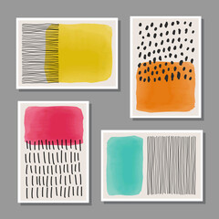 Trendy set of abstract creative minimalist artistic hand painted composition