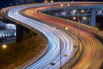 Highway at night lights