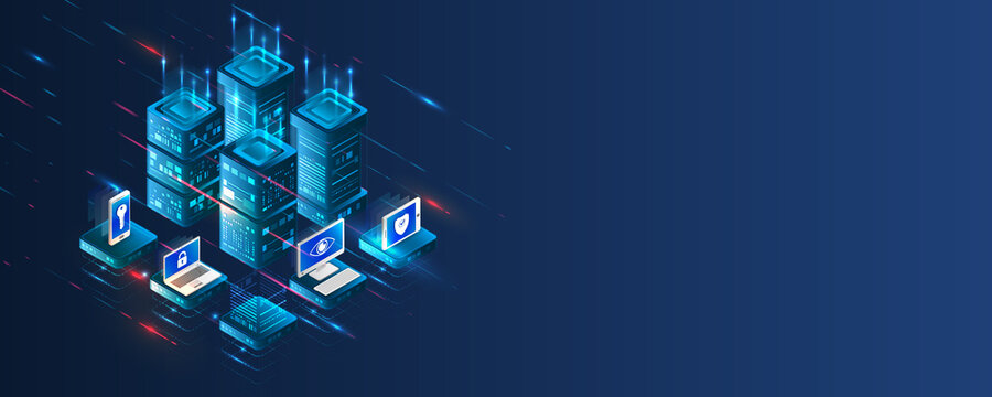 Data protection, privacy, and internet security concept. Cybersecurity for business and internet project. Data security services. Creative Web hosting banner. Technology concept for data center.