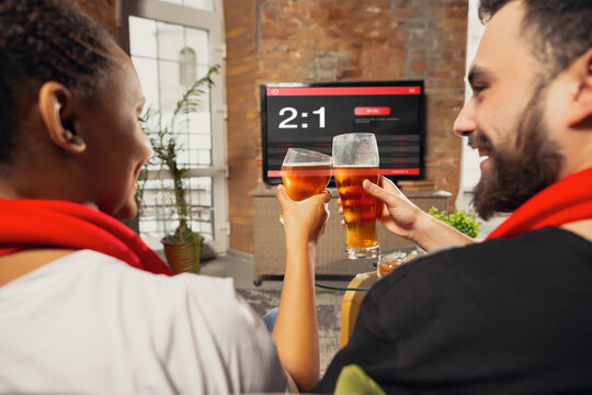 TV screen with mobile app for betting and score. Device with match results on screen, excited fans cheering, drinking beer. Gambling, betting, sport, finance, modern technologies concept.