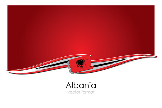 Albania Flag with colored hand drawn lines in Vector Format