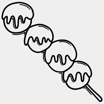 Meatball stick doodle vector icon. Drawing sketch illustration hand drawn line eps10