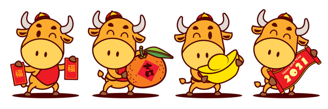 Happy Chinese New Year 2021. Cartoon cute Ox character set holding Red Packet, Tangerine Orange, Gold Ingot and Scroll couplet. The year of the Ox. Translation: lucky  - Flat art vector