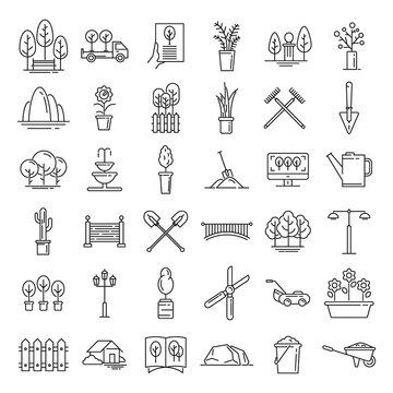 Landscape designer icons set. Outline set of landscape designer vector icons for web design isolated on white background