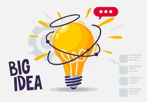 Vector illustration of a glowing light bulb, big idea concept