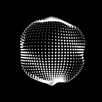 A deformed deflating sphere formed from a sea of dots. An unstable sphere, iridescent with abstract smooth deformations.
