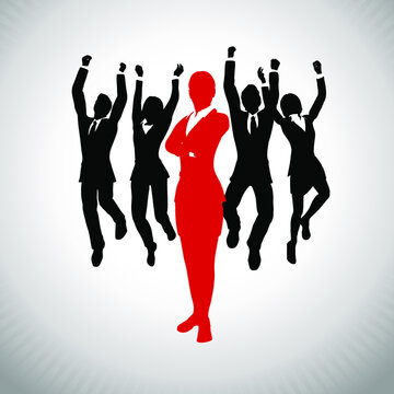 Successful Leader in front of team of cheering,jumping executives. A team of cheering enthusiastic jumping executives in silhouettes led by a successful Female leader in red who stands in front of the