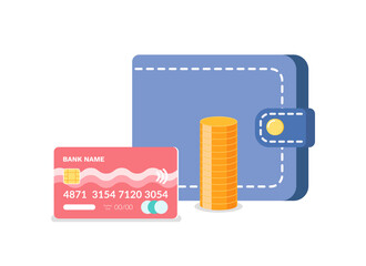 Wall Mural - Credit card, golden coins and cash, finance objects, different kind of money, wireless payment with code and circle currency, economy technology vector
