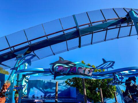 The entrance to the Mako Roller Coaster at SeaWorld Orlando Florida